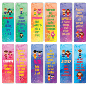 Creanoso Good Values Bookmarks for Kids Series 2 (30-Pack) – Awesome Bookmarks for Young Bookworm – Unique Book Reading Page Binders – Stocking Stuffers Gifts Rewards Token Ideas
