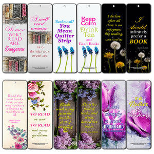 Creanoso Inspiring Floral Reading Bookmark Gifts for Women (60-Pack) – Six Assorted Quality Bookmarks Bulk Set – Premium Gift for Girls, Ladies, Wife – Book Lover Gift