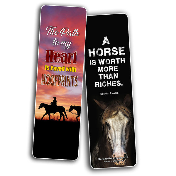 Creanoso Horse Quotes Bookmarks Series 2 (30-Pack) – Premium Gift Set - Bookmarkers for Horseback Riders, Cowboys, Equestrian, Adult Men & Women – Country Fair Supply