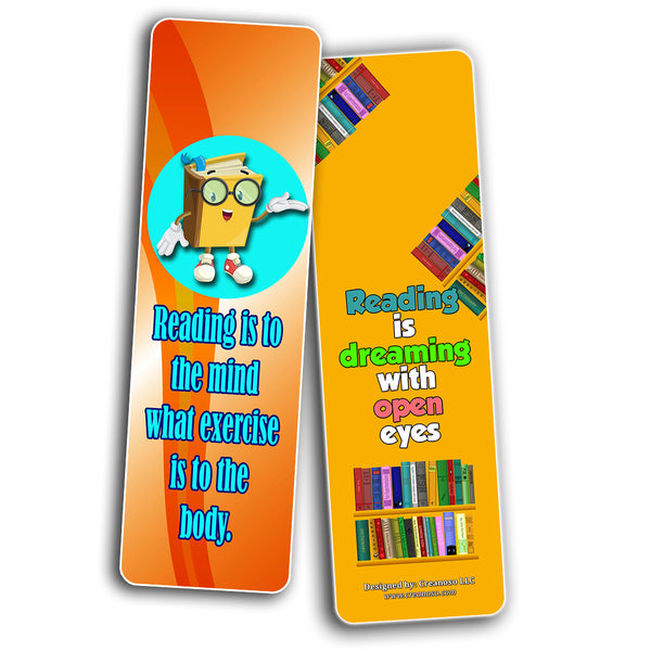 Creanoso Fantastic Reading Bookmarks for Kids (60-Pack) – Awesome Book Page Marker Clip Set – Premium Gift for Boys & Girls, Children – Rewards Incentives – Card Stock – Teacher Rewards