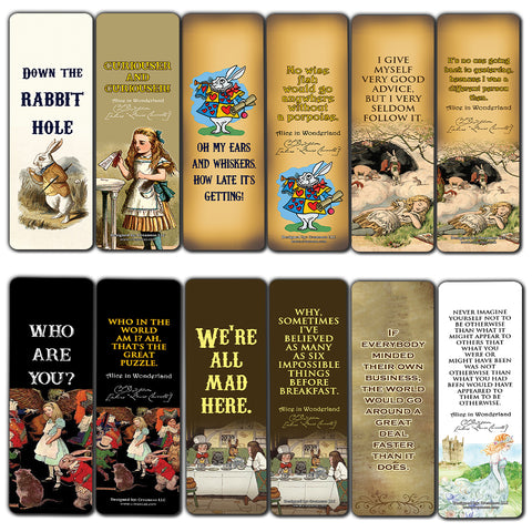 Alice In Wonderland Bookmarks Cards  Vintage Literary Quotes Bookworm Reading Gifts  Bookish Theme Party Supplies for Men Women Kids Girls Boys Stocking Stuffers