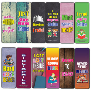 Creanoso Hard Core Reader Bookmarks for Kids (60-Pack) – Premium Gift Set – Awesome Bookmarks for Boys Girls – Six Bulk Assorted Bookmarks Designs – Cool Giveaways for Children – Rewards Pack