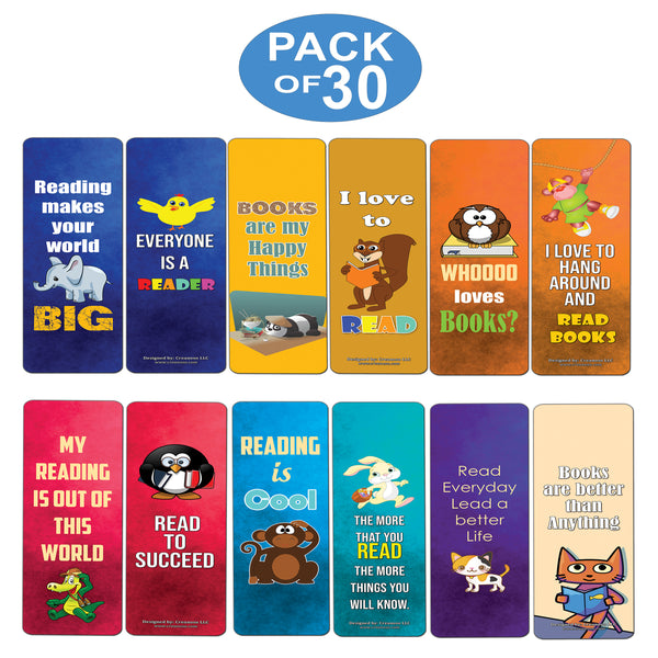 Creanoso Inspiring Bookmarks for Kids  Animal Theme Reading Bookmarker Cards  Stocking Stuffers Gift for Kids, Children, Boys & Girls  Teacher and Classroom Rewards  School Gifts Set
