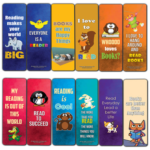 Creanoso Inspiring Animal Reading Sayings Bookmark Card (60-Pack) – Premium Gift Set – Awesome Bookmarks for Boys, Girls, Children – Six Bulk Assorted Bookmarks Designs – School Incentives