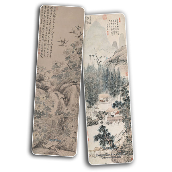 Creanoso Chinese Paintings Bookmarks - Four Gentlemen and Three Friends of Winter (60-Pack) – Inspirational China Art Impressions Bookmarker Cards – Premium Gift Collection for Men & Women, Teens