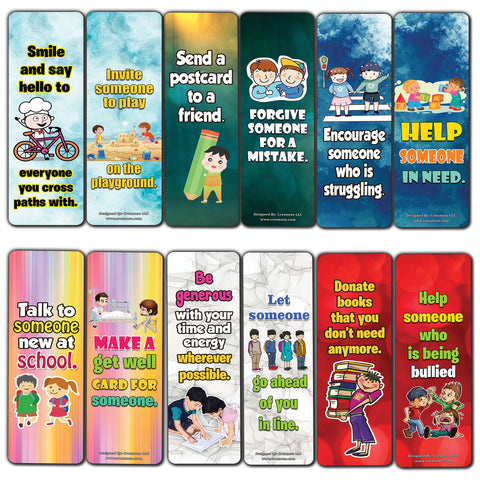 Creanoso 12 Ways to show Kindness Bookmarks for Children (60-Pack) - Gift Token Giveaways for Kids