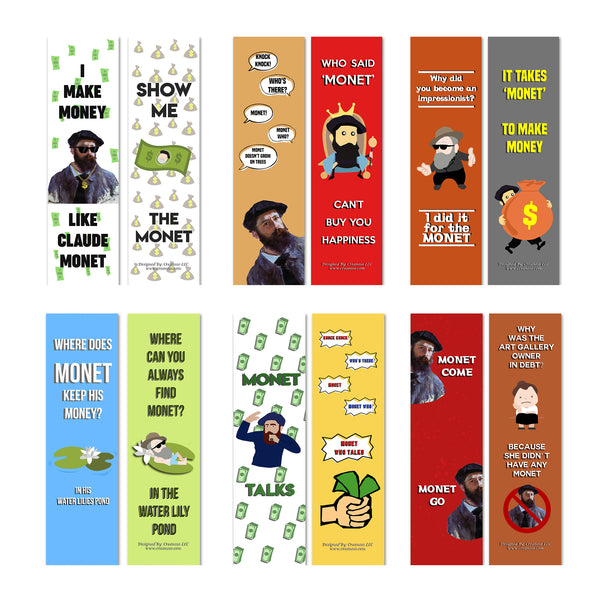 Creanoso Funny Bookmark Series 2 - Monet Jokes - Funny and Cool Bookmarker Cards