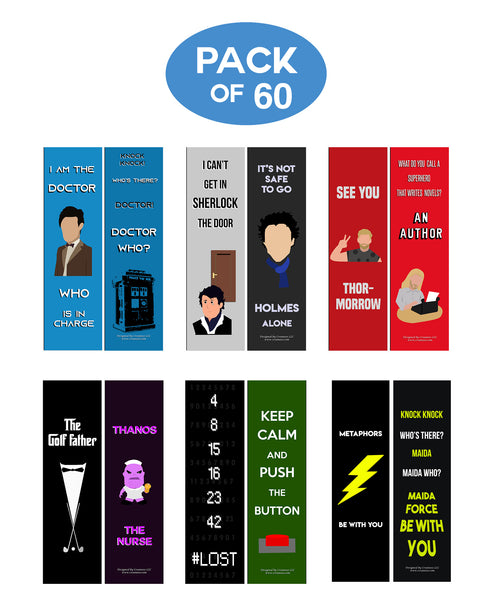 Creanoso Funny Bookmarks Series 3 - Movie Jokes - Funny and Cool Bookmarker Cards