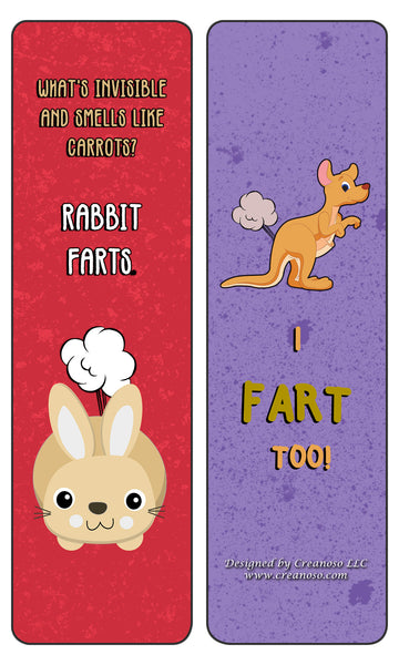 Funny Animal Farting Bookmarks Series 1 - Stocking Stuffers Gift for Men, Women, Adult, Teens, Boys & Girls – Party Favors Supplies