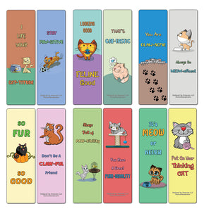 Creanoso Cat Puns Bookmarks - Motivating and Humorous Cat Related Quotes