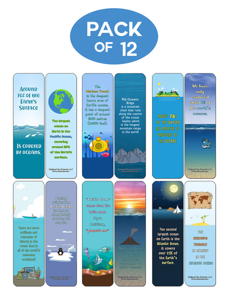 Ocean Fun Facts Bookmarks Cards - Premium Quality Gift Set & Stocking Stuffers