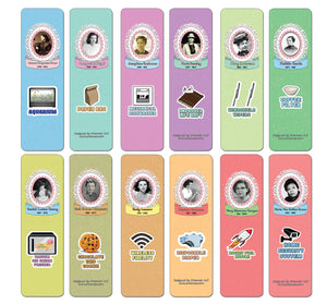 Creanoso Famous Female Inventors and their Inventions Educational Bookmarks Cards (60-Pack) - Premium Quality Gift Ideas for Children, Teens, & Adults for All Occasions