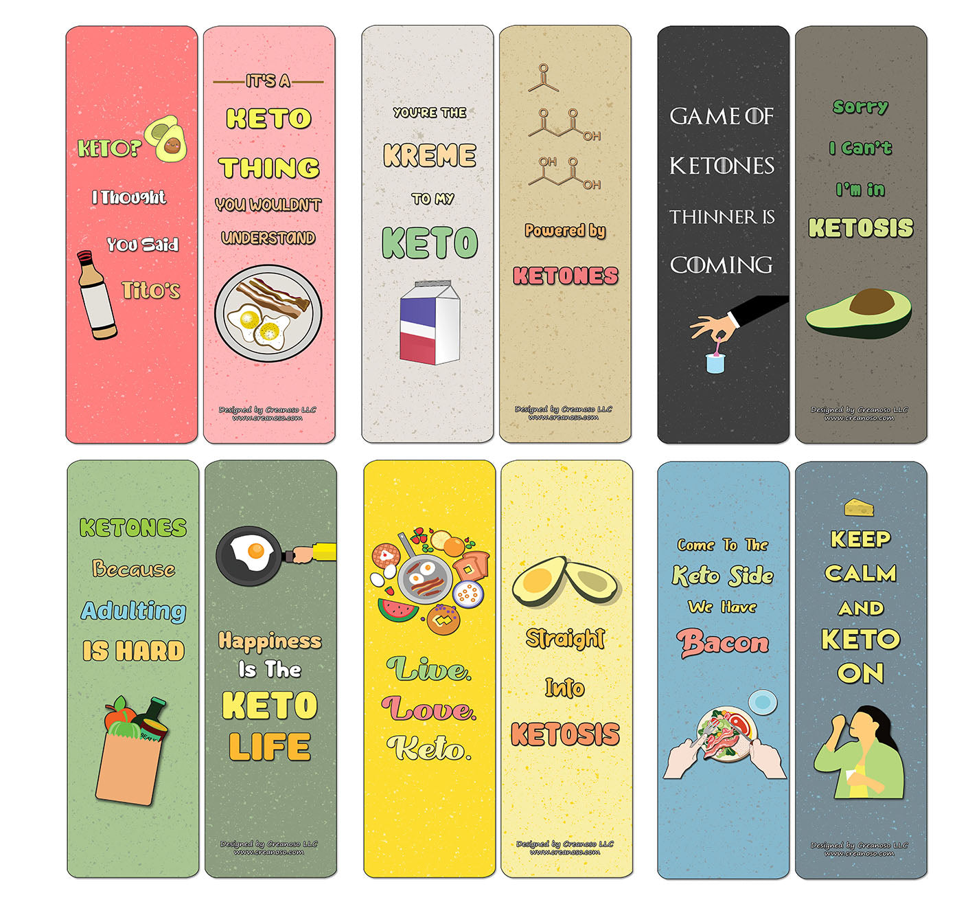 Creanoso Funny Keto Bookmarks Cards - Premium Quality Gift Set