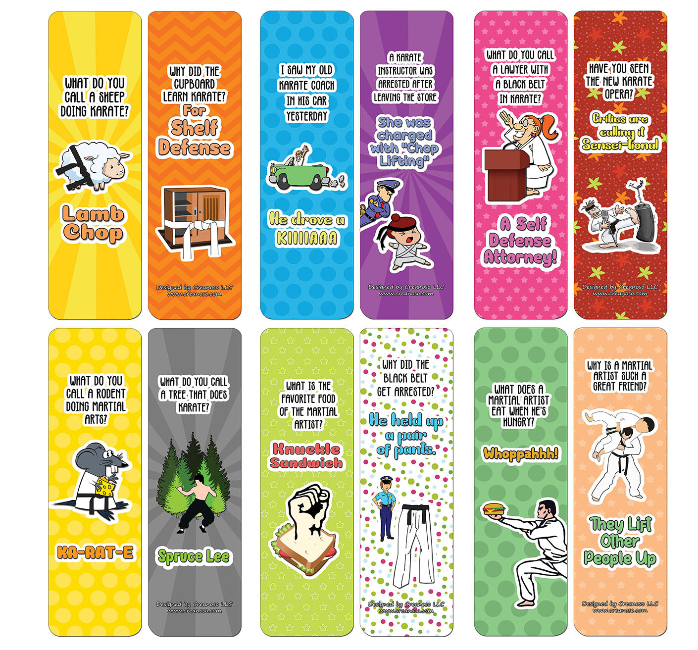 Creanoso Funny Clean Jokes Bookmarks -  Karate Jokes - Awesome Stocking Stuffers