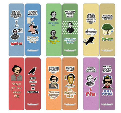 Creanoso Edgar Allan Poe Jokes Bookmarks - Amazing Stocking Stuffers and Gift Set or Party favors