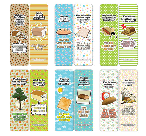 Creanoso Funny Bread Puns Bookmarks (60-Pack) - Premium Quality Gift Ideas for Children, Teens, & Adults for All Occasions - Stocking Stuffers Party Favor & Giveaways
