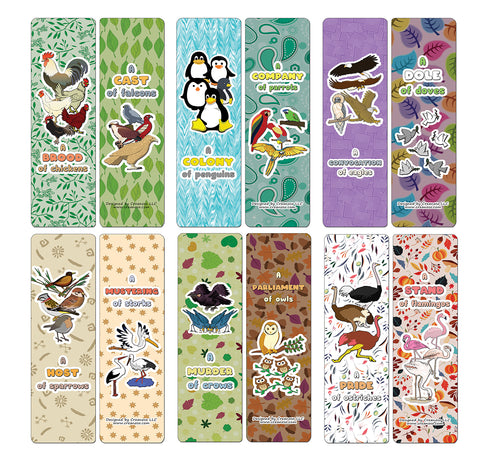 Creanoso Educational Bookmarks for Kids - Animal Group Names - Birds (60-Pack) - Premium Quality Gift Ideas for Children, Teens, & Adults for All Occasions
