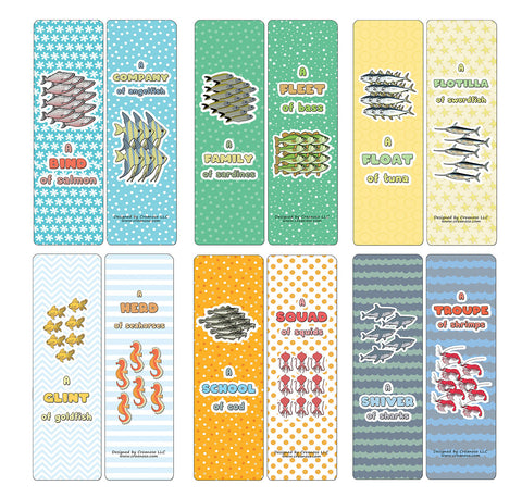 Creanoso Educational Bookmarks for Kids - Animal Group Names - Sea Animals (60-Pack) - Stocking Stuffers Party Favors & Giveaways for Teens & Adults - Classroom Reward Incentives for Students