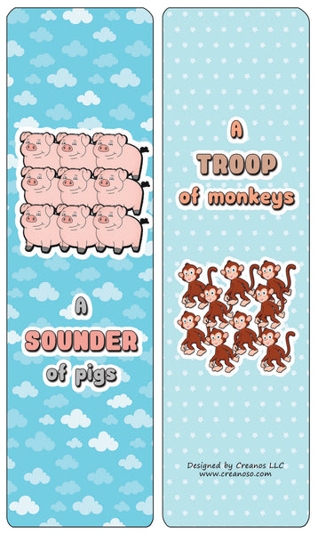 Creanoso Educational Bookmarks for Kids - Animal Group Names - Mammals - Stocking Stuffers Gifts