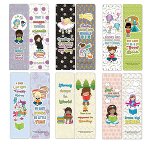 Creanoso Little Readers Bookmarks Cards for Girls (60-Pack) - Cool Stocking Stuffers Gifts Book Page Clippers - Awesome Premium Quality Card Stock - Reading for Bookworms