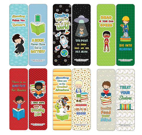 Creanoso Little Readers Bookmarks Cards for Boys (60-Pack) - Premium Quality Gift Ideas for Children, Teens, & Adults for All Occasions - Stocking Stuffers Party Favor & Giveaways