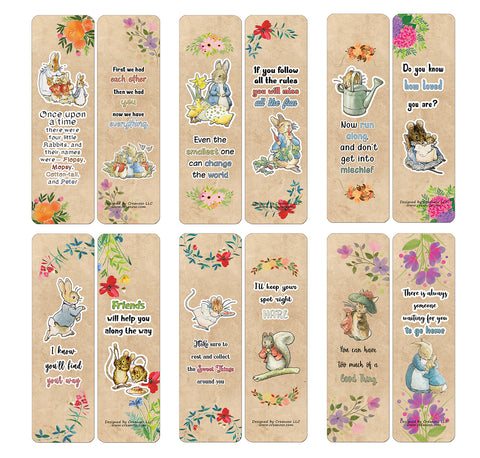 Creanoso Peter Rabbit Little Readers Bookmark Cards (60-Pack) - Premium Quality Gift Ideas for Children, Teens, & Adults for All Occasions - Stocking Stuffers Party Favor & Giveaways