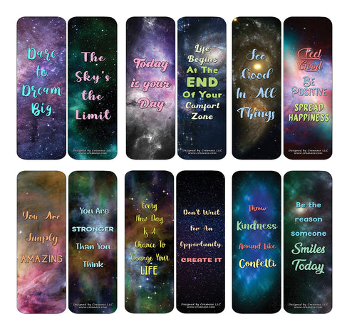 Creanoso Galaxy Motivational Bookmarks Cards Series 3 (60-Pack) - Premium Quality Gift Ideas for Children, Teens, & Adults for All Occasions - Stocking Stuffers Party Favor & Giveaways