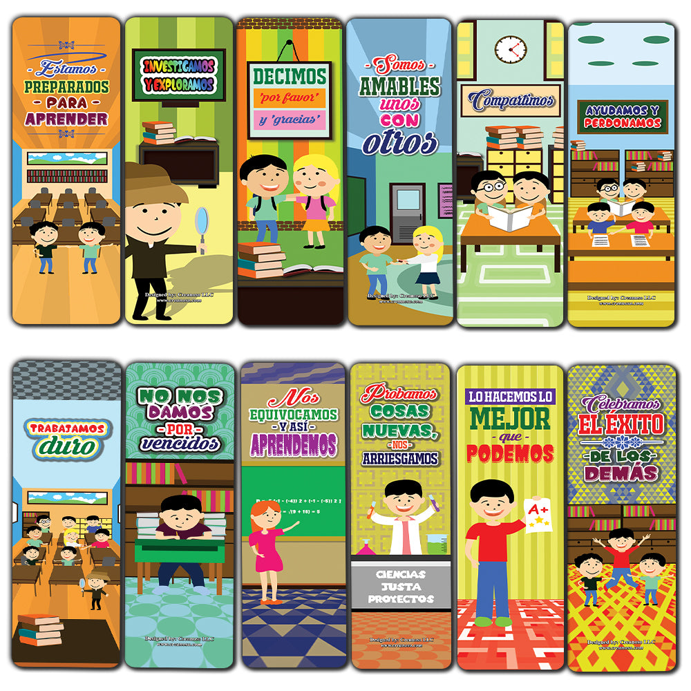 Spanish Positive Classroom Expectation Bookmarks Cards - Assorted Pack Collection for Inspiring Book Reader and Lovers