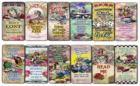 Alice in Wonderland Bookmarks Series 3 - Awesome Book Page Marker Clip Set - Premium Gift for Boys & Girls, Children