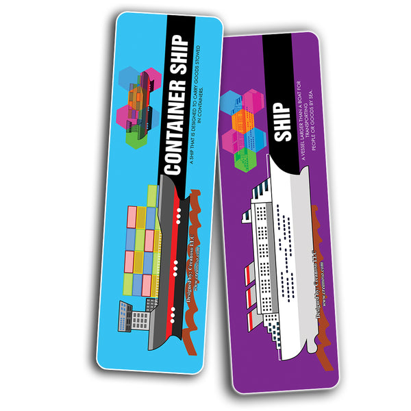 Creanoso Transportation Vocabolary Bookmarks - Awesome Gift Set and Incentives