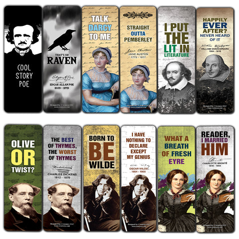 Literary Classics Bookmarks Cards (30-Pack) - Great Reading Rewards Incentives for Book Lovers & Literature Gifts for Young Readers