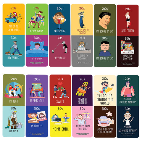 Funny Illustration 20s vs 30s Bookmark Card (60 Pack) - Great Party Favors Card Lot Set – Epic Collection Set Book Page Clippers – Cool Gifts for Children, Boys, Girls