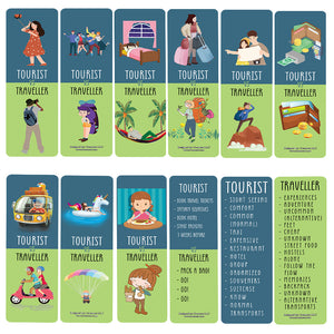 Funny Tourist VS Traveller Bookmark Card (60 Pack) - Great Party Favors Card Lot Set – Epic Collection Set Book Page Clippers – Cool Gifts for Children, Boys, Girls