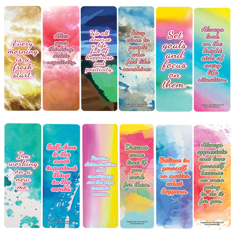 Calligraphy Inspirational Bookmarks (12-Pack) – Daily Inspirational Card Set – Interesting Book Page Clippers – Great Gifts for Kids and Teens