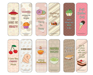 Creanoso Funny Sweet Desserts Puns Bookmarks (60-Pack) - Premium Quality Gift Ideas for Children, Teens, & Adults for All Occasions - Stocking Stuffers Party Favor & Giveaways