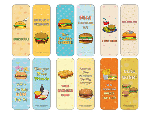 Creanoso Funny Burger Puns Bookmarks (60-Pack) - Premium Quality Gift Ideas for Children, Teens, & Adults for All Occasions - Stocking Stuffers Party Favor & Giveaways