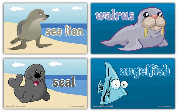 Creanoso Sea Creatures Flashcards for Children – Informational Educational Learning Cards
