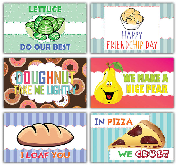 Creanoso Funny Food Puns Lunchbox Notecards - Flashcards for Kids
