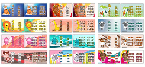 Cute Animals Multiplication Tables Flash Cards(120-Pack - 12 cards front & back designs x 10 sets)