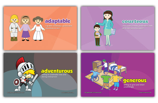 24 Adjectives Wrods Learning Flash Cards