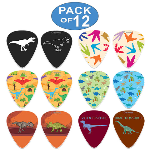 Creanoso Cool Dinosaur Guitar Pick (12-Pack) - Colorful Unique Music Gifts for Guitarists
