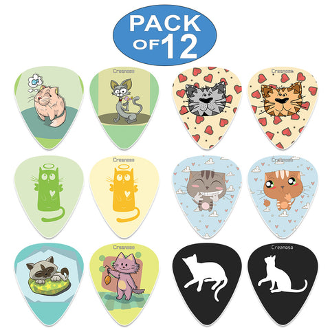 Creanoso Cool and Colorful Cat Guitar Picks (12-Pack) - Musical Accessories Premium Gifts