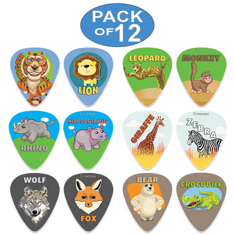 Creanoso Cool and Colorful Wild Animal Guitar Picks (12-Pack) - Musical Accessories Premium Gifts