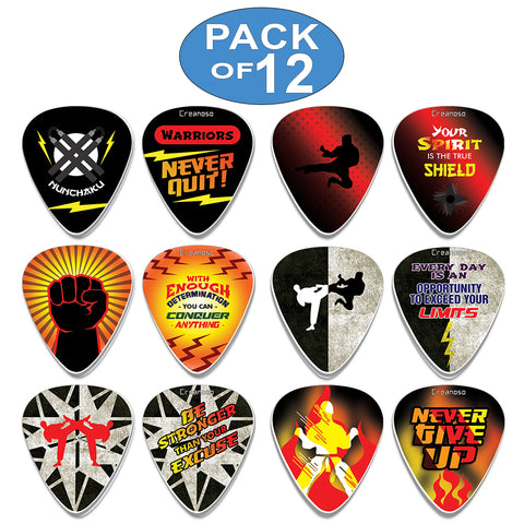 Creanoso Cool Martial Arts Guitar Picks Variety Pack (12-Pack) - Unique Stocking Stuffers Gifts