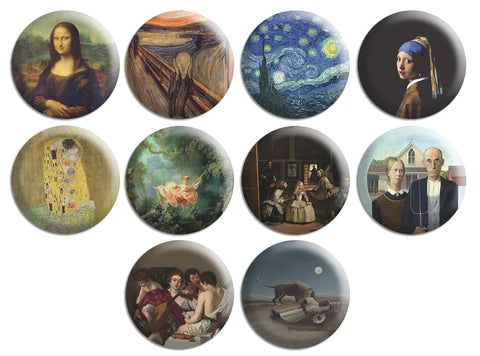 Famous Painting Pinback Button Series 1 (10-Pack)