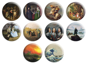 Creanoso Famous Painting Pinback Button Series 2 (10-Pack) - Stocking Stuffers Premium Quality Gift Ideas for Children, Teens, & Adults - Corporate Giveaways & Party Favors