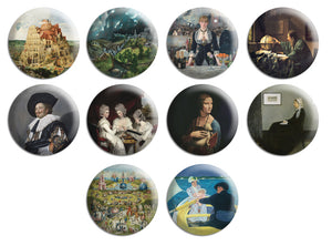 Creanoso Famous Painting Pinback Button Series 3 (10-Pack) - Premium Quality Gift Ideas for Children, Teens, & Adults for All Occasions - Stocking Stuffers Party Favor & Giveaways