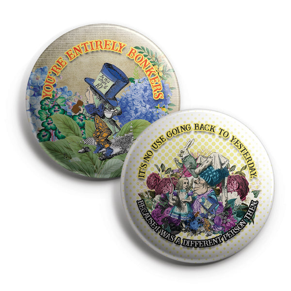 "Alice in Wonderland Pinback Buttons (10-Pack) – Large 2.25"" Unique Badge Pins for Men Women Teens Kids Girls Stocking Stuffers"