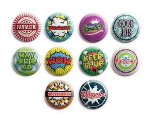 "Appreciation Rewards Pinback Buttons (10-Pack) - Large 2.25"" Unique Badge Pins for Men Women Teens Employees Professionals"