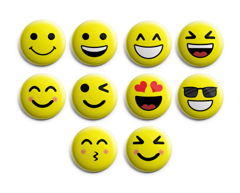 "Classic Smiley Face Pinback Buttons (10-Pack) - Large 2.25"" Cool Fashion Stocking Stuffers Accessories Indoor Outdoor Wear"